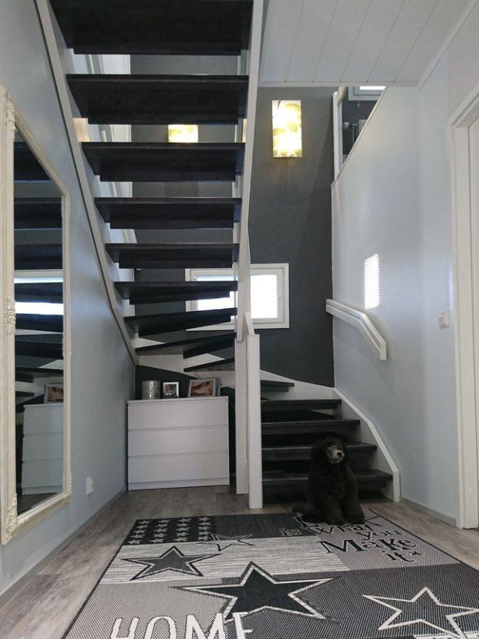 Tumma portaikko ja koira.